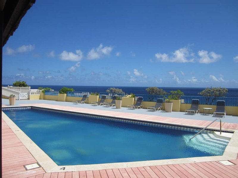 St C's heated pool overlooking the bay. Just steps away from the unit.