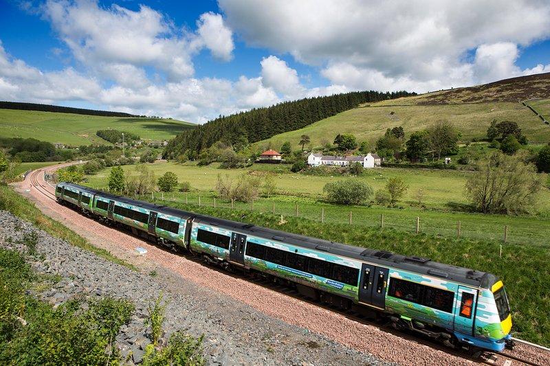 trein passerend Galabank met ons prachtige landschap