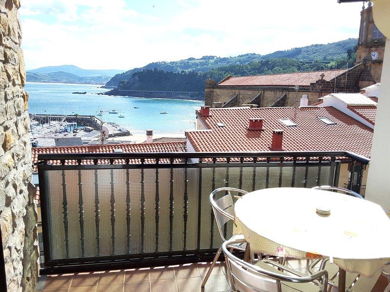 Espectaculares vistas al mar y puerto.Centrico.Zona tranquila.Soleado.., holiday rental in Zumaia