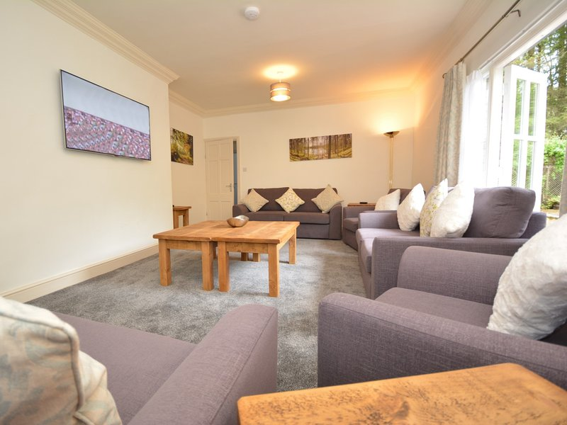 Superb lounge with large TV and French doors to the rear garden