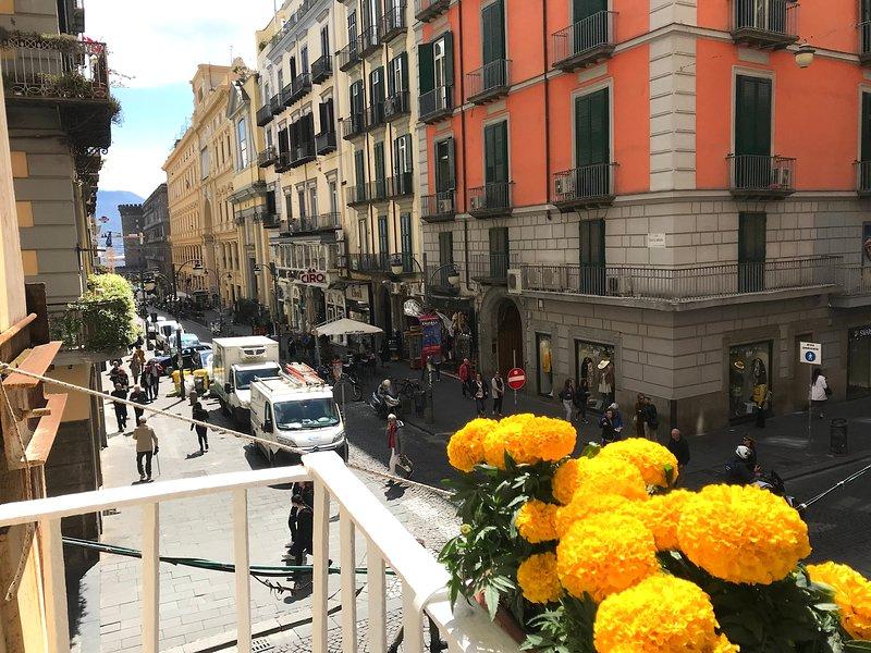 Balcony with view of Galleria Umberto I, Maschio Angioino, port and Vesuvius
