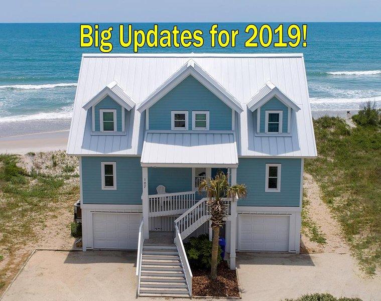 S. Permuda Wynd 107 Oceanfront! | Community Pool, Jacuzzi, Fireplace, Internet,, location de vacances à North Topsail Beach