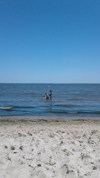 Kids in the lifeguard area at the town beach