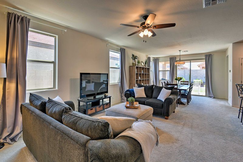 The home's open floor plan provides a great group gathering space.
