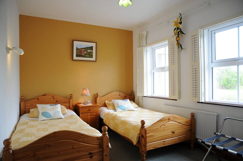 Habitación doble con baño privado. Sala de escaleras abajo. Wi-Fi gratis.
