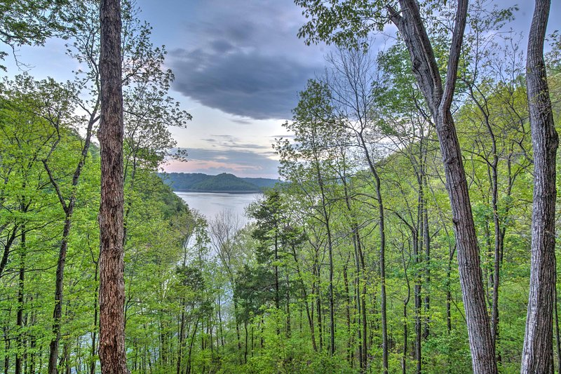 Soak up the lake views from the vacation rental's impressive deck.