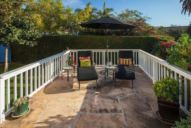 Private, sunny patio