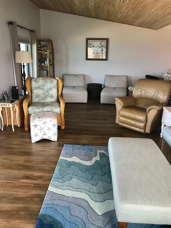 Large living room with sleeper sofa, large smart tv for family movie time!