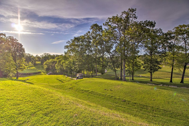 The 2-bedroom, 2-bathroom vacation rental boasts golf course views.