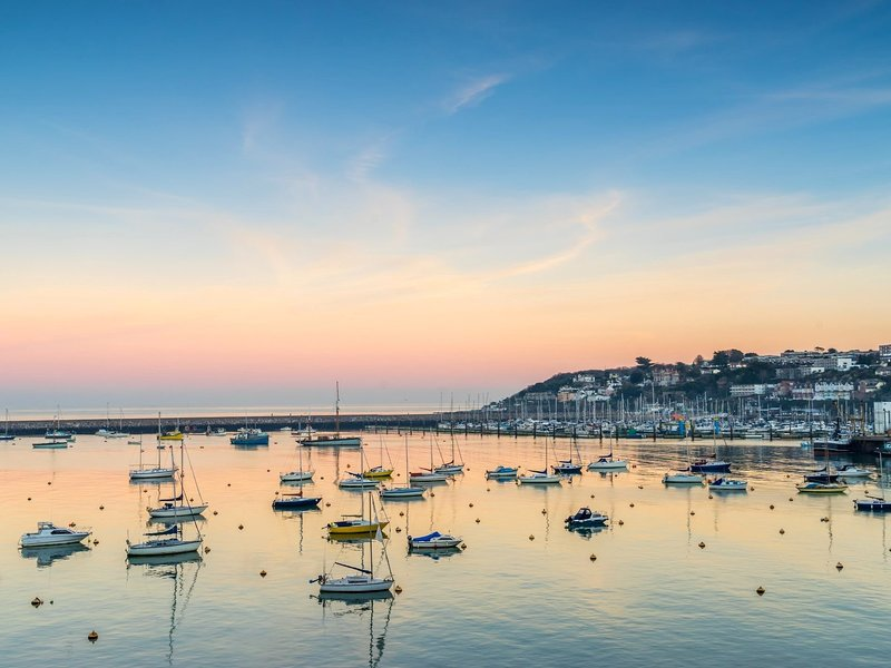 The beautiful Brixham harbour at dusk