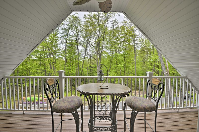 Enjoy a hot cup of coffee on the second full porch and watch for wildlife!