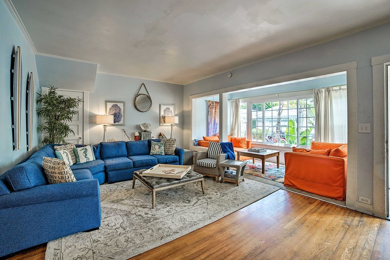 The bright sunroom is the perfect spot to enjoy a good book or morning coffee.