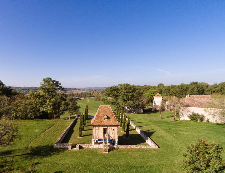 Aerial view from behind pigeonnier