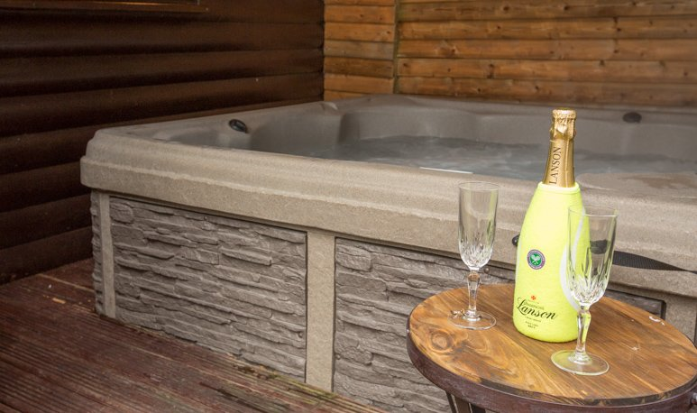 Under cover hot tub