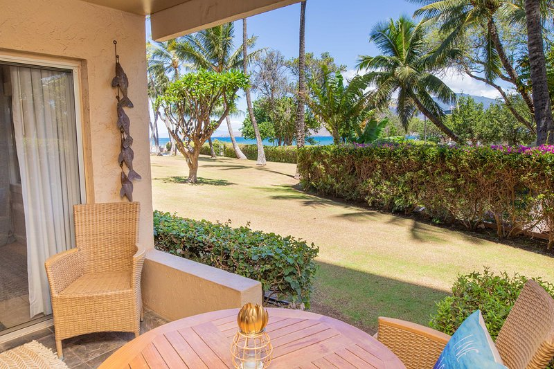 This ground-level vacation rental offers 2 bedrooms, 2 baths and ocean views.