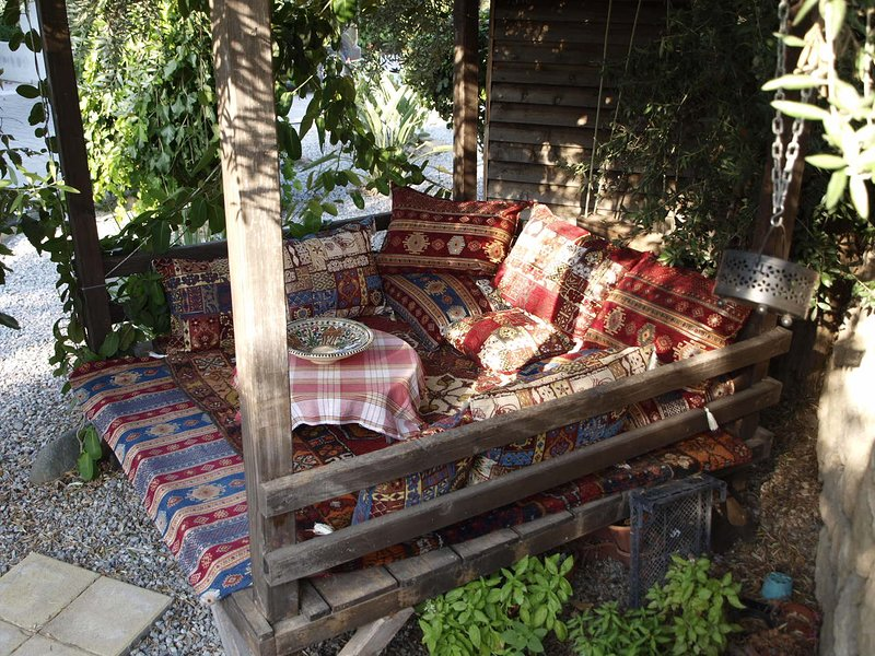 The Otterman Seating Platform, great for a snooze in the shade of the olive tree