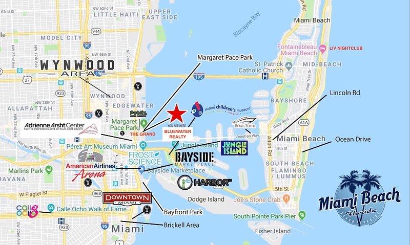 Mappa della zona Downtown Miami e Miami Beach