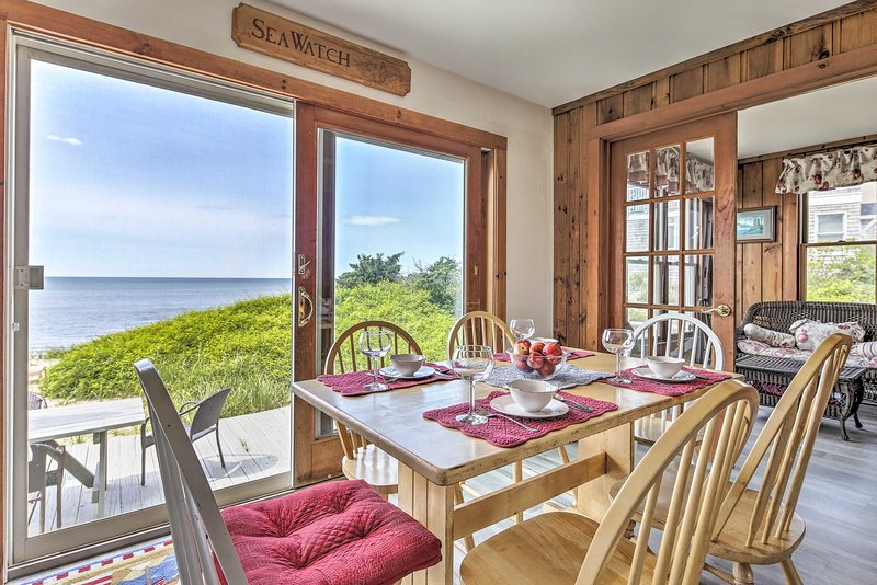 This cozy nautical cottage offers stunning views of the ocean.