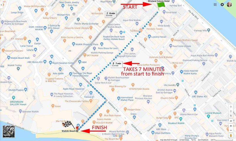 L'itinéraire de 7 minutes à pied du centre de Waikiki Beach depuis Island Colony
