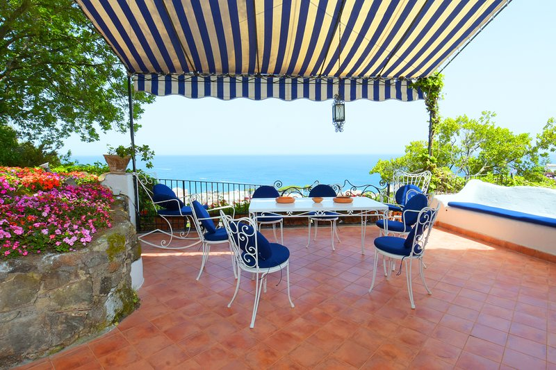 Main Terrace of  Villa Aglaia  with Outdoor Dining Area and Panoramic Seaview.