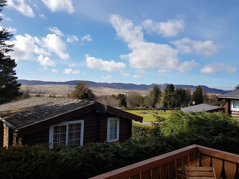 Aaaannnnd relax. Panoramic view of the Rhinog Mountains from cabin decking.