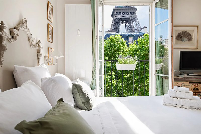 Wow! View of the Eiffel Tower from the first bedroom