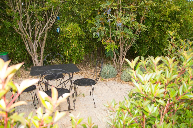 The Cat Terrace. One of the 3 private terraces of the shared garden Ecologîtes.