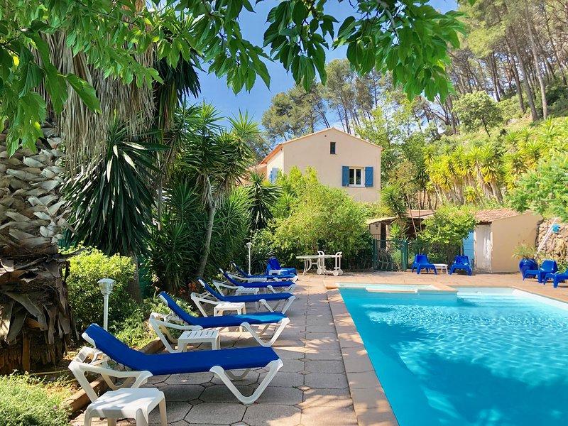 VILLA, 20p  heated pool 12x6 cote d' azur near sea all  in private park 7500sqm, holiday rental in Carqueiranne