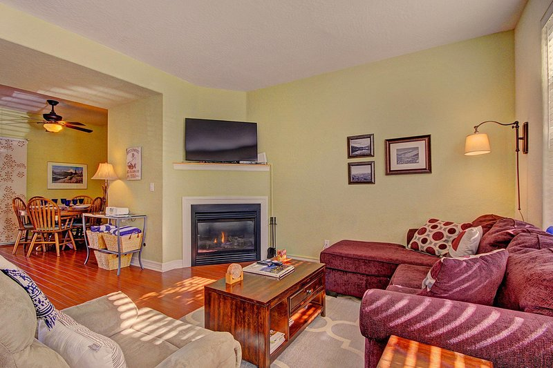 Charming living room with gas fireplace and TV