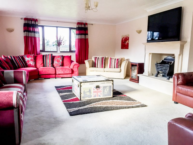 Enjoy lounging in front of the fire, includes a double sofa bed