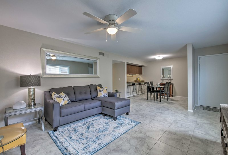 The home has 2 bedrooms, 2 bathrooms, and sleeps 4.