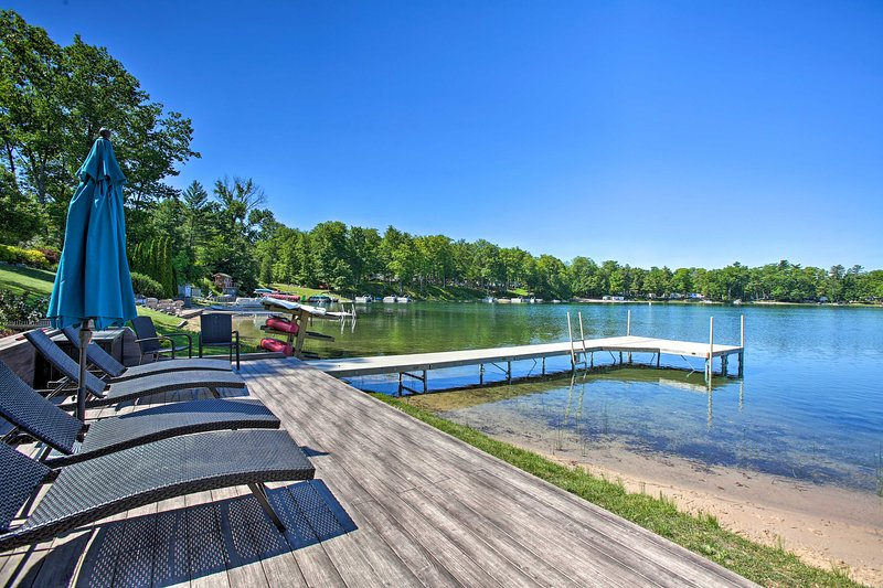 Catch a tan by the lake, swim, and boat.
