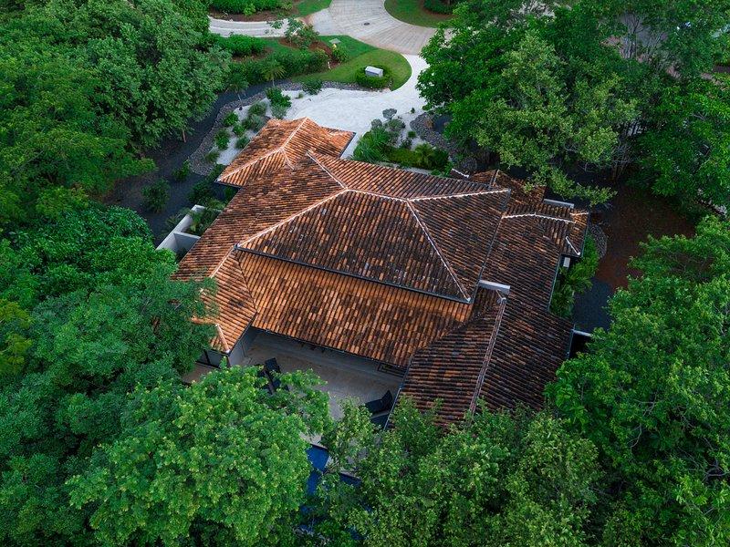 Vista aérea do quintal da Casa Los Monos