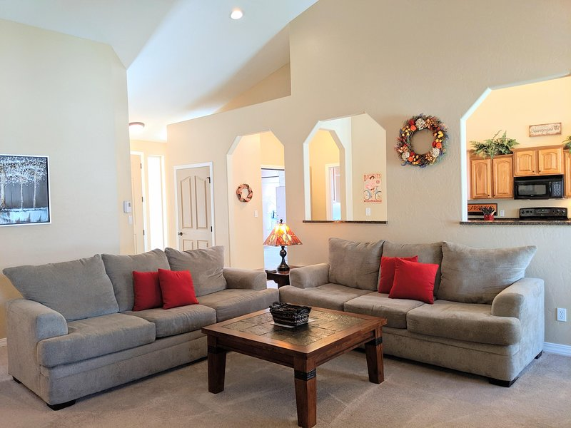 Bright roomy living room with vaulted ceilings