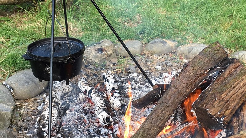 Cook your dinner like a cowboy on the fire pit