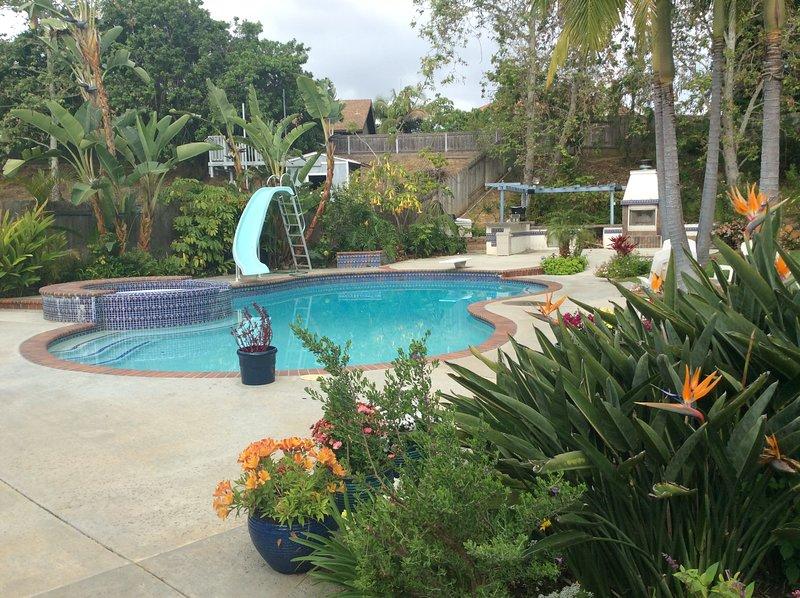 solar-heated fresh water pool
