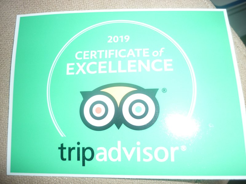 we have just been awarded a certificate of excellence from Trip Advisor for the Hayloft