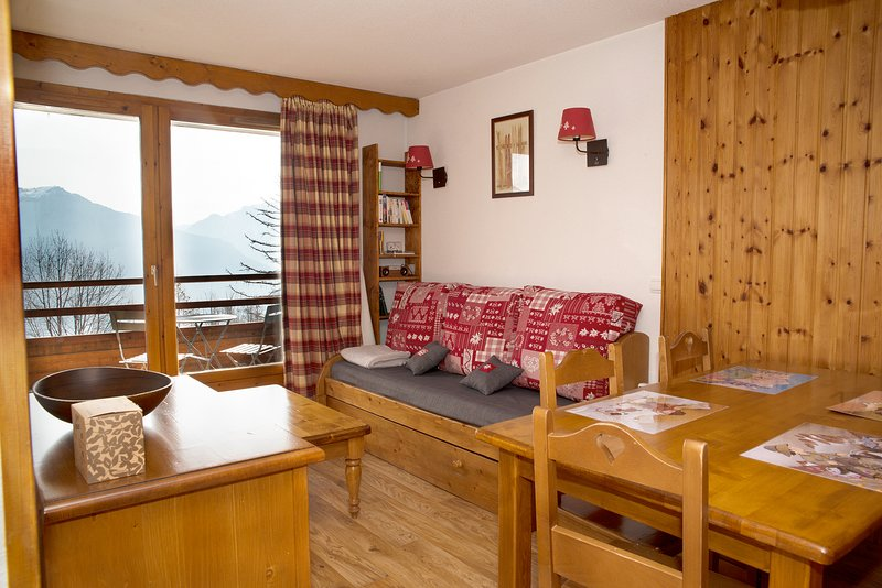 Appart. skis au pieds, 2 chambres, piscine, sauna, holiday rental in Freissinieres