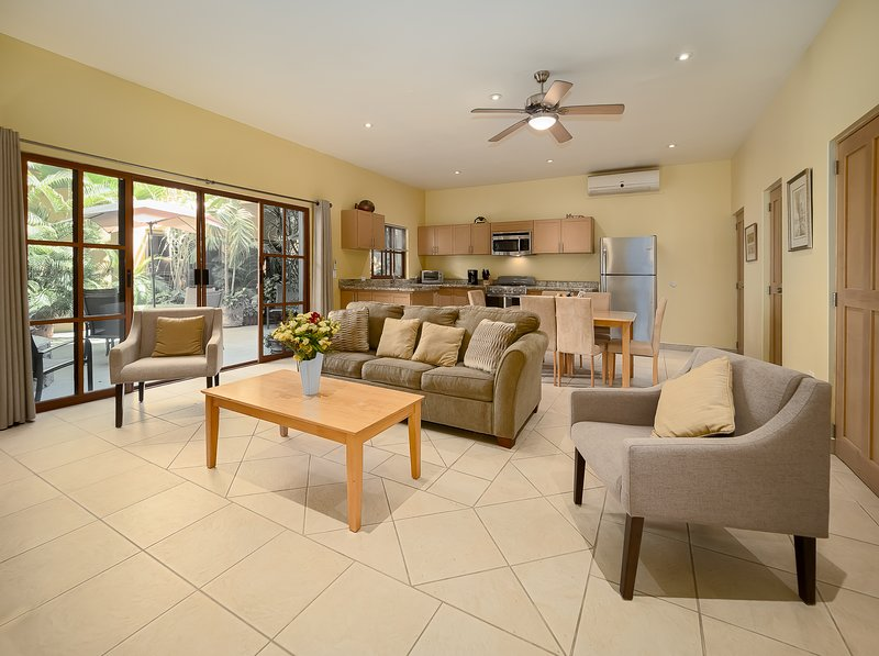 over view open plan of living room and kitchen area