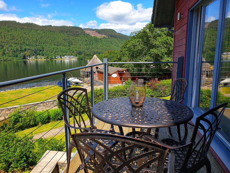 Balcony seating area with fabulous views over Loch Tay