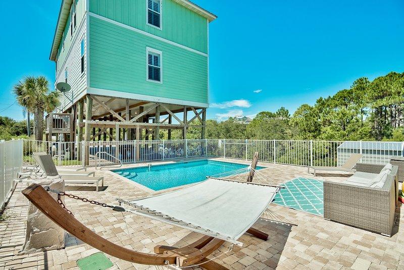 Water, zwembad, zwembad, gebouw, veranda