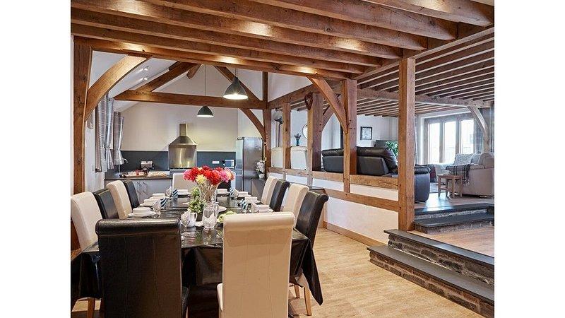 Uso compartilhado da ampla cozinha de plano aberto, sala de jantar e lounge em Pumlumon House