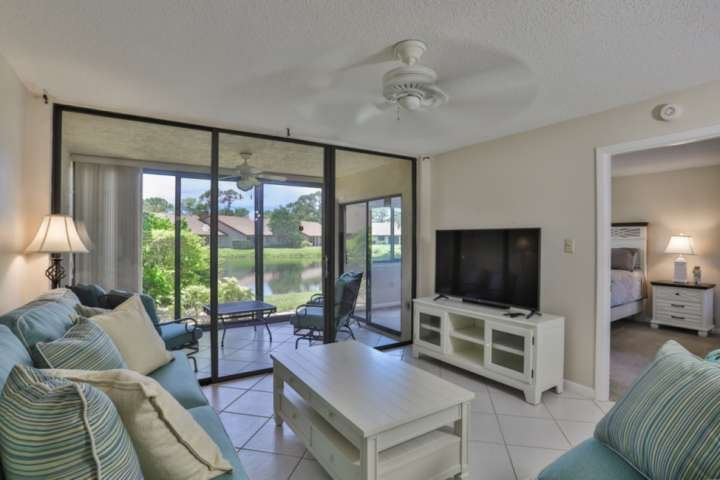 New comfortable seating and large screen TV to relax and watch a movie.