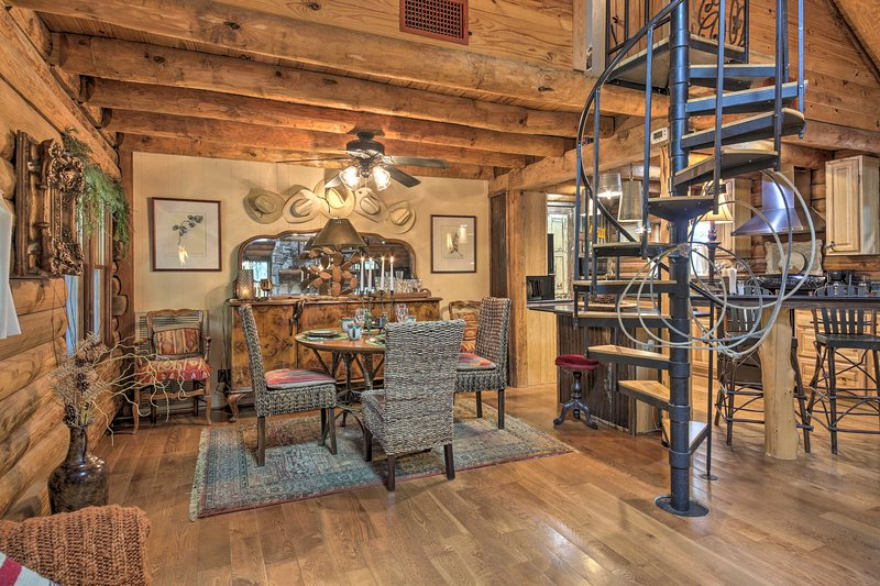 The cabin is detailed with a rustic Texas Hill Country charm.