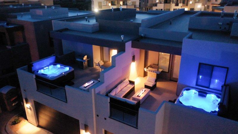 Balcony with hot tub