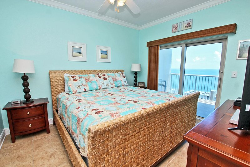 Gulf View Master Bedroom with a King Bed and Balcony Access