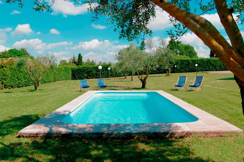 ★★★★★ Bright Villa near Rome/Airy roofed Patio overlooking private Pool/Garden, holiday rental in Trevignano Romano