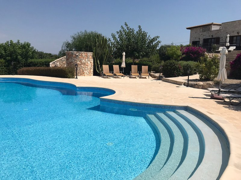 The private pool with safety steps. Ideal for easy, yet safer access / exit from the pool