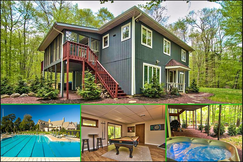 ⭐️Modern Poconos Cabin⭐️ Mins to Kalahari, Camelback, HOTTUB Lake access!, vacation rental in Tobyhanna