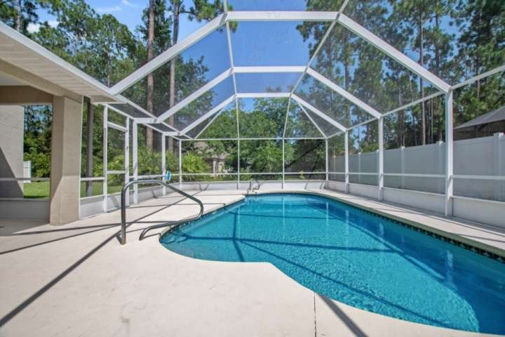The saltwater pool is 3 feet deep in the shallow end and 5 feet in the 'deep' end. The Salty Breeze is located in sunny Palm Coast, FL.
